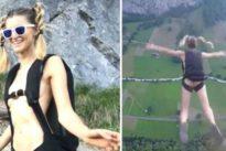 Annelise Temple si lancia nuda con il paracadute dalle Alpi Svizzere Video